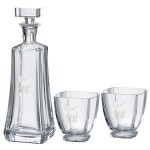 Custom Imprinted Arezzo Decanter (25 oz.) with Two Matching (10.75 oz.) Arezzo Rocks Glasses (3 Piece Set)