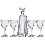 Custom Printed Arezzo Decanter (25 oz.) with Four Matching (9 oz.) Arezzo Wine Glasses (5 Piece Set)
