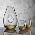 Custom Engraved Hallandale Carafe & 2 Stemless Wine Glasses