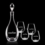 Logo Branded Malvern Decanter & 4 Stemless Wine