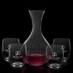 Logo Branded Ameling Carafe & 4 Stemless Wine