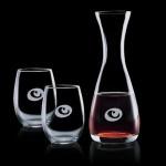 Custom Printed Bishop Carafe & 2 Stemless Wine