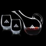 Medford Carafe & 2 Stemless Wine Custom Engraved
