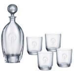 Custom Engraved Orbit Tall Decanter (24 oz.) with Four Matching (10.5 oz.) Orbit Rocks Glasses (5 Piece Set)