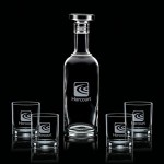 Aristocrat Decanter & 4 On-the-Rocks Logo Branded