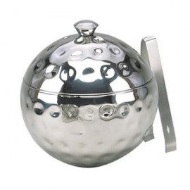"""8"""" Bolt Hammered Stainless Globe Ice Bucket w/ Tongs Custom Imprinted"""