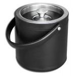 Custom Engraved Top Grain Black Leather Classic Ice Bucket