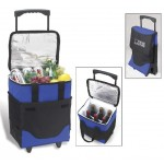 Logo Branded Collapsible Rolling Cooler with Dividers for 6 Bottles