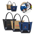 Logo Branded Stylish Leather Bottom Cooler Tote