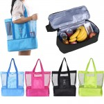 Double Layer Mesh Insulated Cooler/Beach Tote Bag Custom Imprinted