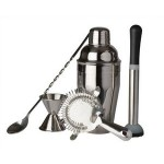 Promotional Stainless Steel Bar Gift Set w/Black Gift Box (5 Piece)