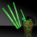 "Custom Imprinted 5"" Single Color Green Glow Swizzle Stick"