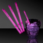 "5"" Single Color Pink Glow Swizzle Stick Custom Printed"