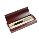 Black Executive Ball Pen in Curved Wooden Gift Box w/Gold Accents Custom Printed