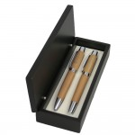 Bamboo Finish Ballpoint and Roller Ball Pen Set Logo Branded