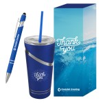 Logo Branded Incline Tumbler & Pen With Custom Box