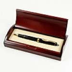 Black Executive Ball Pen in Curved Wooden Gift Box Custom Printed