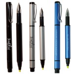 Logo Printed Recycled Aluminum Pen w/Highlighter
