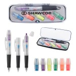Tri-Color Pen and Highlighter Set Logo Printed