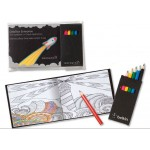 Custom Imprinted Custom Black Cover Adult Coloring Book & 6-Color Pencil Set To-Go