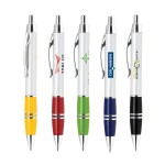 Custom Imprinted Metal Push Action Ballpoint Pen w/ Silver Accent