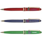 Twist Action Ballpoint Pen w/ Gold Plated Accents Logo Branded