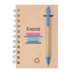 """Recycled Notebook/Pen Combo - 4""""x6"""" Blue Logo Branded"""