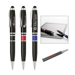 Custom Imprinted Brass twist ballpoint pen with touchscreen stylus.High gloss lacquer finish