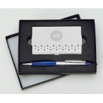 Custom Engraved Aspen Gift Set w/ Merced Pen and Wavy Business Card Case