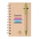 """Custom Engraved Recycled Notebook/Pen Combo - 4""""x6"""" Green"""