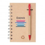 """Custom Engraved Recycled Notebook/Pen Combo - 5""""x7"""" Red"""