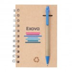 """Recycled Notebook/Pen Combo - 5""""x7"""" Blue Custom Engraved"""
