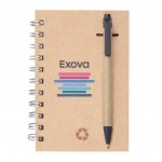 """Recycled Notebook/Pen Combo - 4""""x6"""" Black Custom Imprinted"""