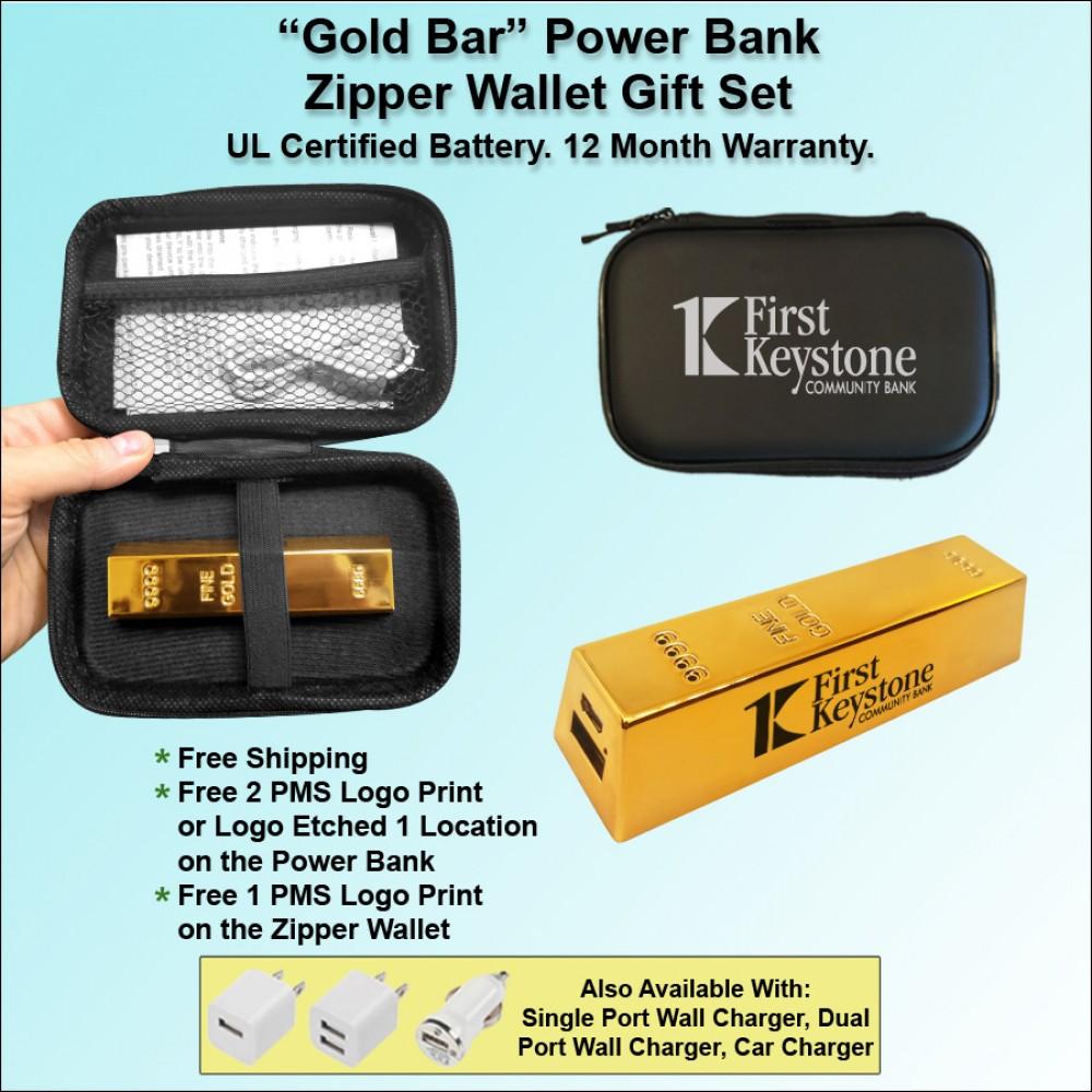 """""""Gold Bar"""" Power Bank Zipper Wallet Gift Set 2800 mAh"""