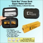 """Gold Bar"" Power Bank Zipper Wallet Gift Set 2800 mAh"