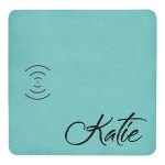 Teal Charging Pad with USB Cord, Laserable Leatherette
