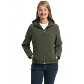Custom Printed Port Authority Ladies Textured Hooded Soft Shell Jacket