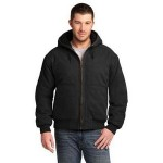 Logo Imprinted Cornerstone Washed Duck Cloth Insulated Hooded Work Jacket