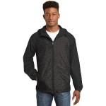 Sport-Tek Men's Heather Colorblock Raglan Hooded Wind Jacket Custom Embroidered