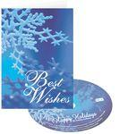 Logo Branded Blue Snowflake Best Wishes Holiday Greeting Card with Matching CD