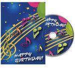 Music Notes Birthday Greeting Card with Matching CD Logo Branded