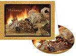 Golden Fireplace Holiday Greeting Card with Matching CD Logo Branded