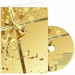Custom Imprinted Gold Ribbon Greeting Card with Matching CD