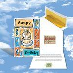 Cloud Nine Birthday Music Download Greeting Card w/ Birthday Cake On Front Custom Printed