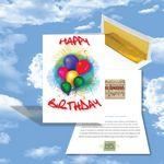 Cloud Nine Birthday Music Download Greeting Card w/ Happy Birthday Balloon Bouquet Custom Printed
