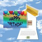 Logo Branded Cloud Nine Birthday Music Download Multicolor Greeting Card w/ Happy Birthday Balloons