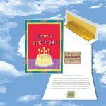 Cloud Nine Birthday Music Download Red Greeting Card w/ Happy Birthday & Cake Logo Branded
