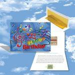 Cloud Nine Birthday Music Download Greeting Card w/ Happy Birthday & Music Notes Custom Imprinted