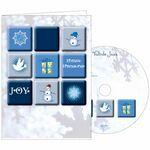 Custom Printed Blue Squares Holiday Greeting Card w/ Matching CD
