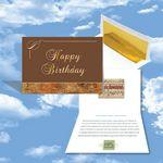 Custom Printed Cloud Nine Birthday Music Download Greeting Card w/ Happy Birthday In Gold